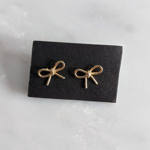 Anthropologie Delicate Gold Bow Earrings